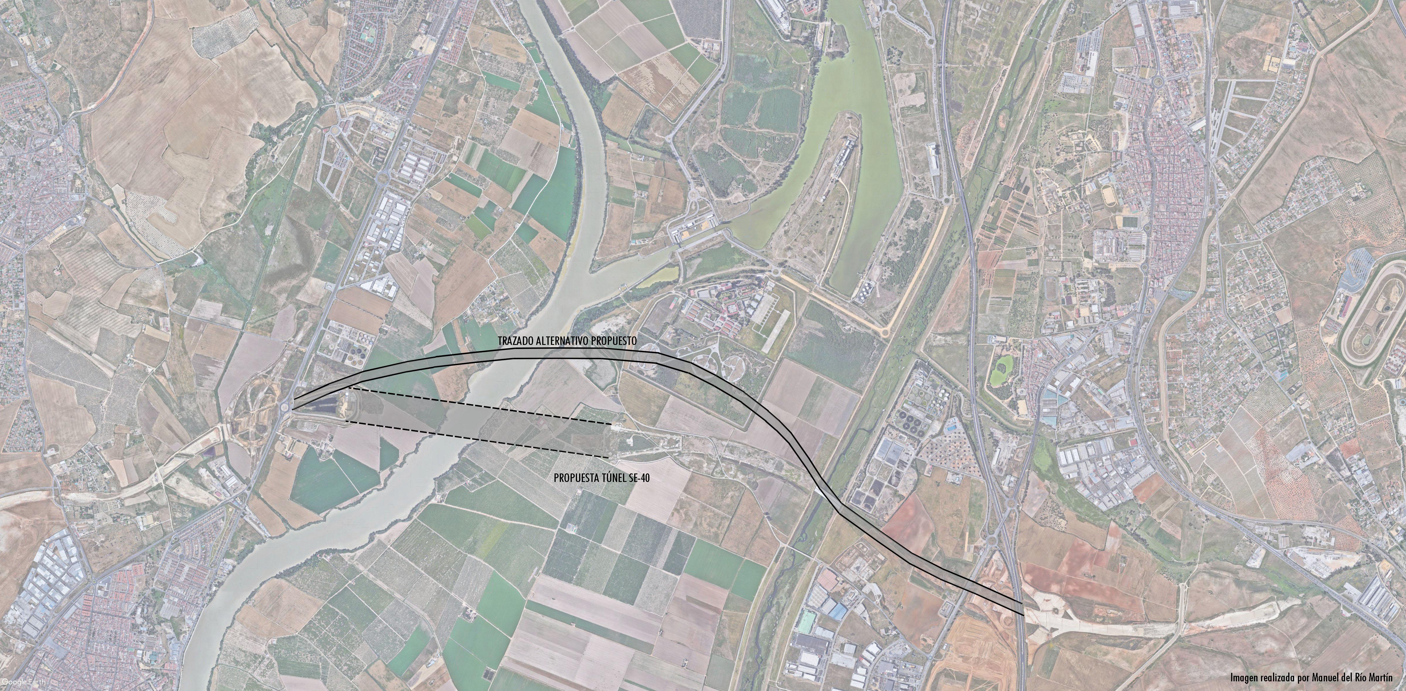 Plano adjunto solución 1. Cuatro túneles y solución 2. Puente atirantado